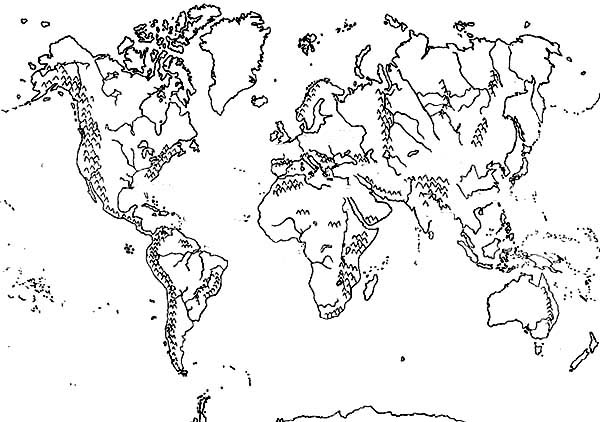 World Map, : Mountains World Map Coloring Page
