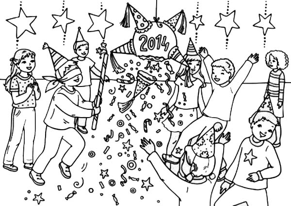 Pinata, : New Year Celebration 2014 with Pinata Coloring Page