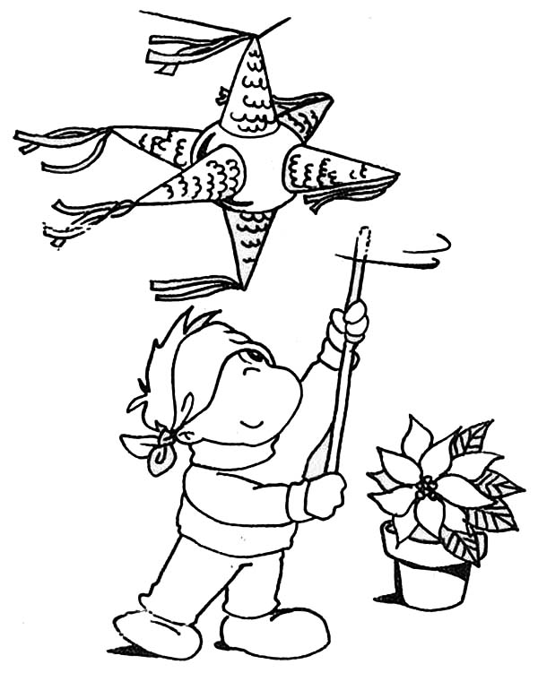 Pinata, : Peeping Boy Try to Hit Pinata Coloring Page