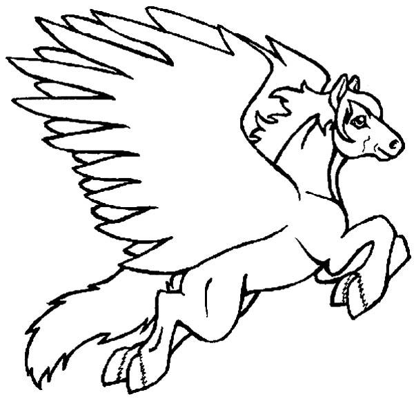 Pegasus, : Pegasus Jumping Coloring Page