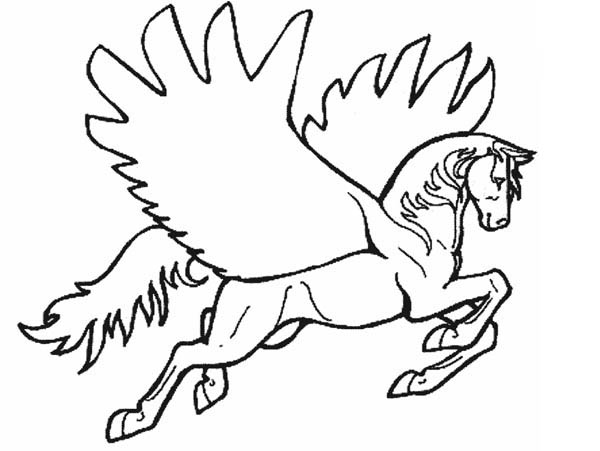 Pegasus, : Pegasus Spread His Wing Coloring Page