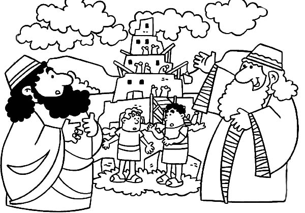 Tower of Babel, : People Work to Bulid Tower of Babel Coloring Page