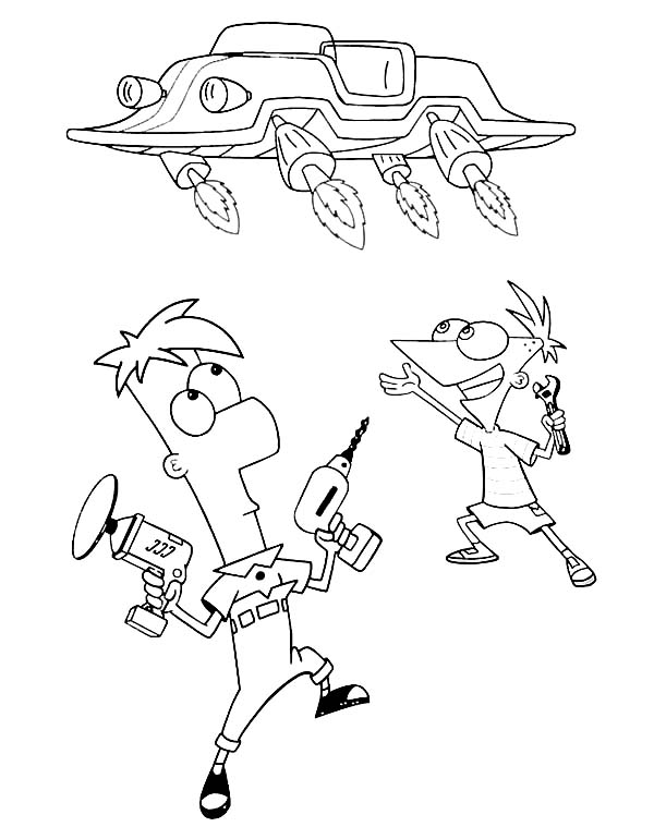Phineas and Ferb, : Phineas and Ferb Make Flying Car Coloring Page