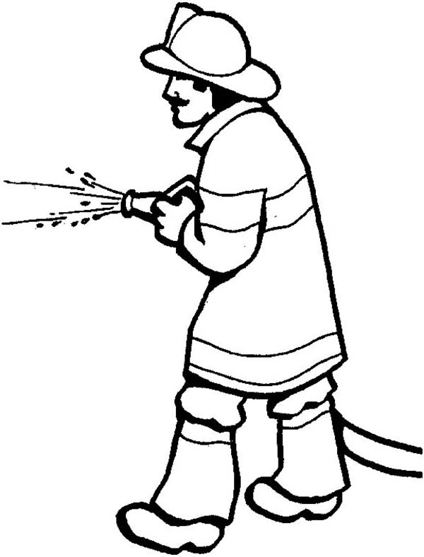 Fireman, : Picture of Fireman Coloring Page