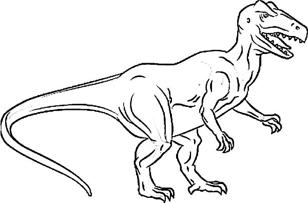 Allosaurus, : Picture of Hungry Allosaurus Coloring Page
