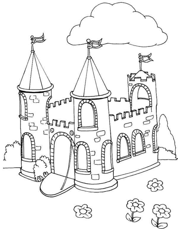 Medieval Castle, : Picture of Medieval Castle Coloring Page