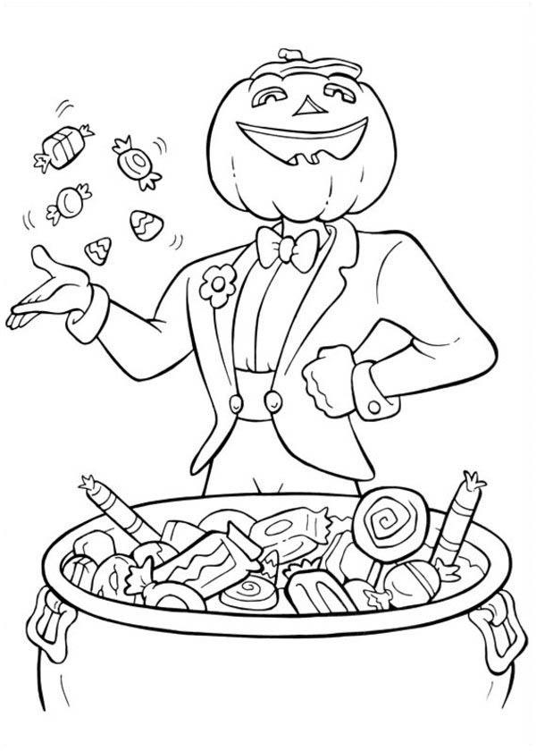 Funschool Halloween, : Pumpkin Man Throwing Some Candy in Funschool Halloween Coloring Page