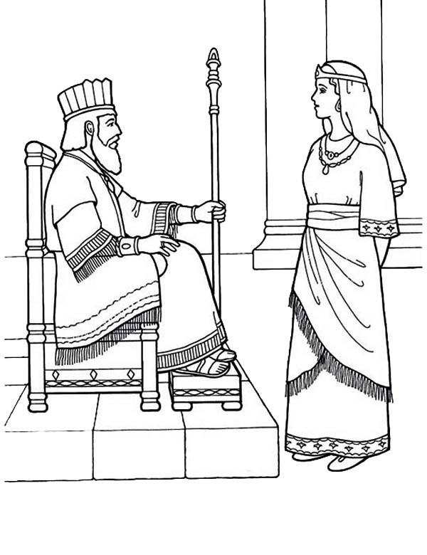 Queen Esther, : Queen Esther Became Kings Lovely Queen Coloring Page