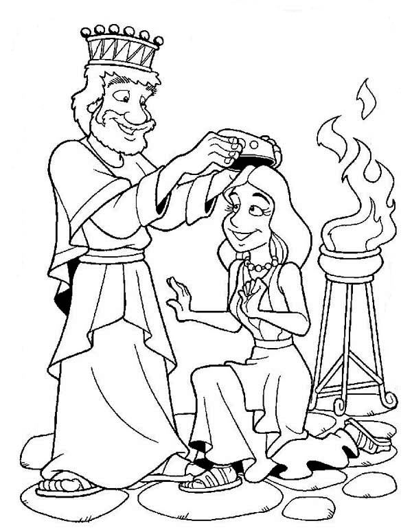 Queen Esther, : Queen Esther Crowned ny King Ahasuerus Coloring Page
