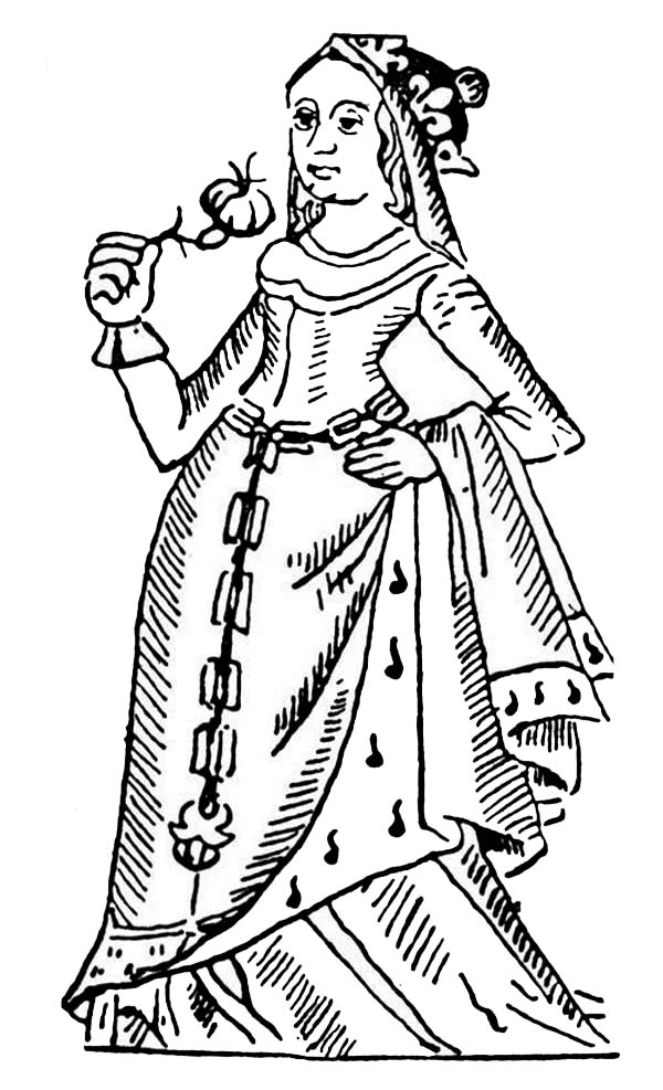 Queen Esther, : Queen Esther with Flower Coloring Page