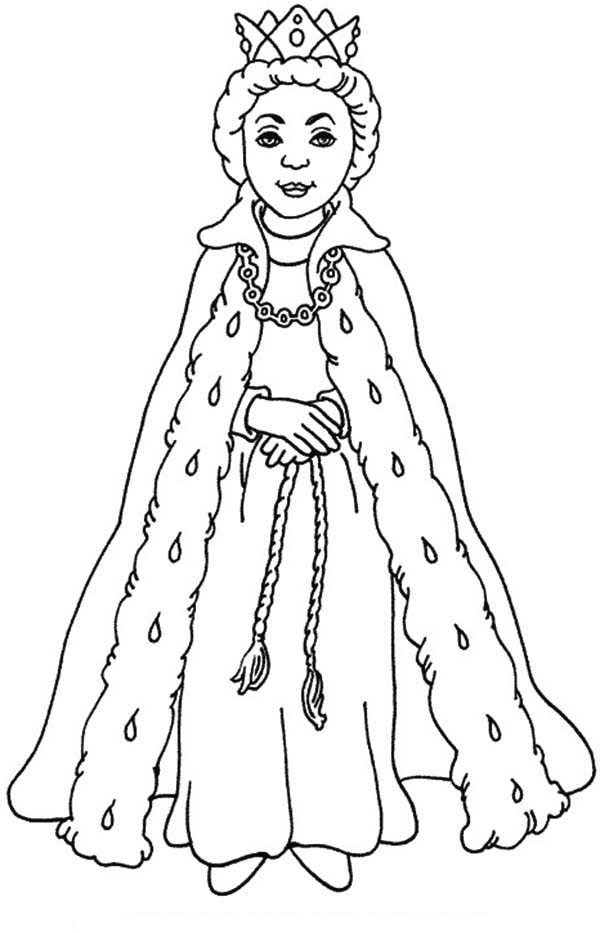 Queen Esther, : Queen Esther with Her Beautiful Gown Coloring Page