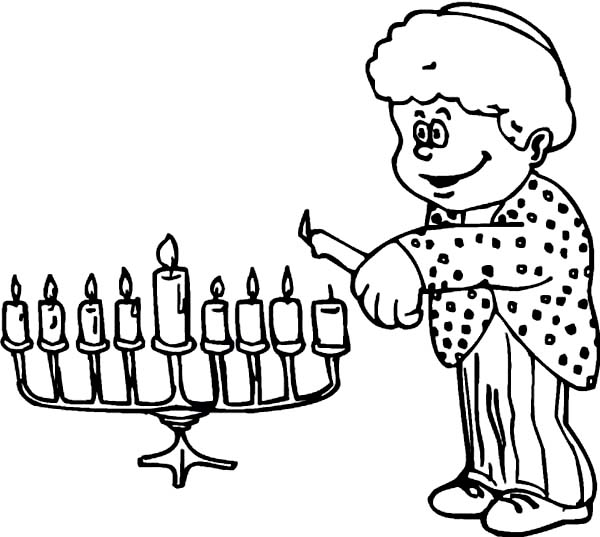 Menorah, : Rabi Light Menorah Coloring Page