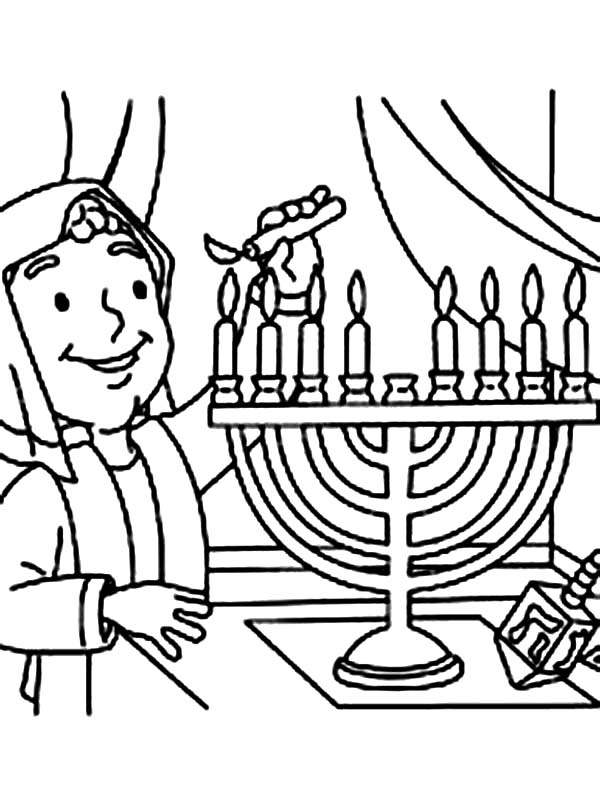 Menorah, : Rabi and Menorah Coloring Page
