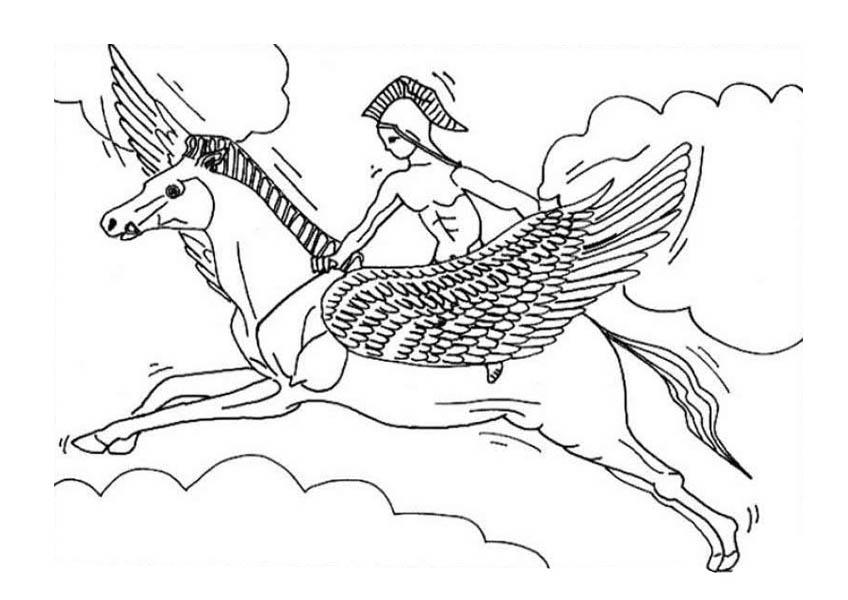 Pegasus, : Roman Knight Ride Pegasus Coloring Page