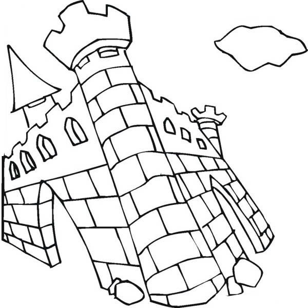 Medieval Castle, : Ruin of Medieval Castle Coloring Page