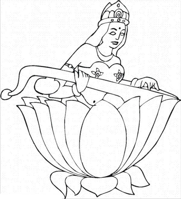 Lotus Flower, : Saraswati inside Lotus Flower Coloring Page