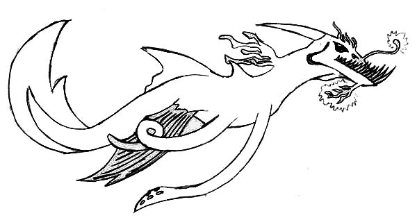 Sea Monster, : Sea Monster Terrifying Creature Coloring Page