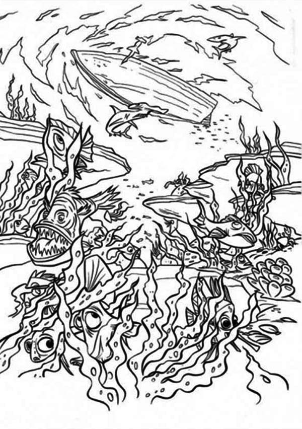 Sea Monster, : Sea Monster is Live Deep Under the Sea Coloring Page