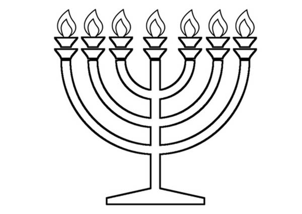 Menorah, : Shiny Menorah Coloring Page