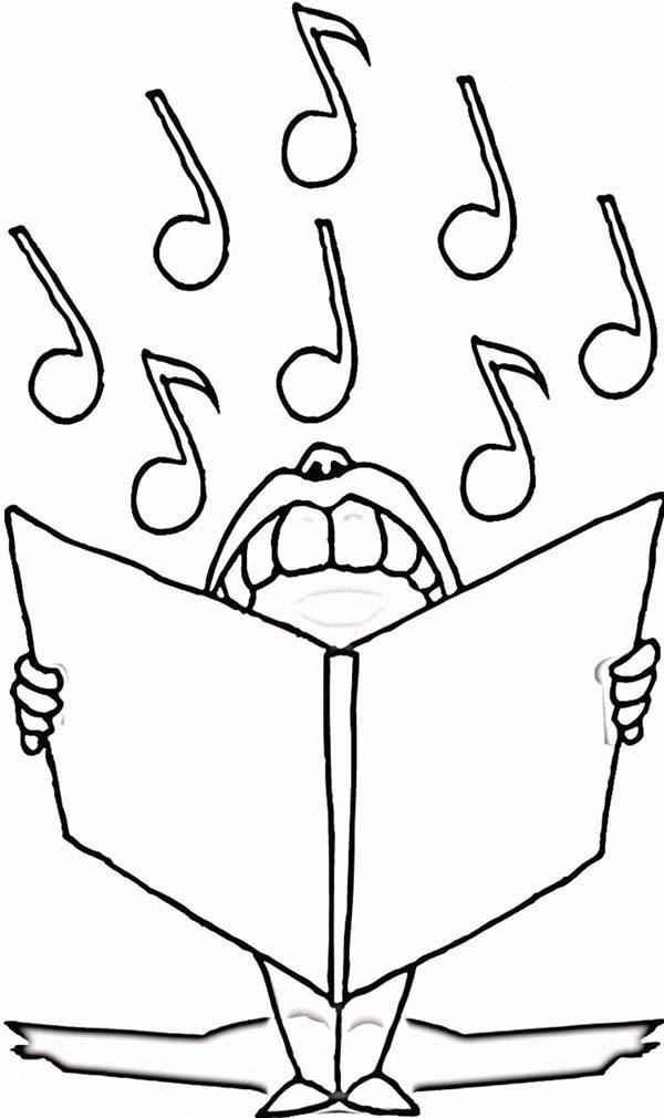 Music Notes, : Singer Singing Holding Music Notes Coloring Page