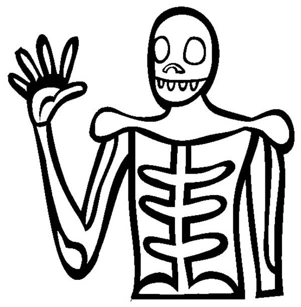 Skeleton, : Skeleton Greeting to Us Coloring Page