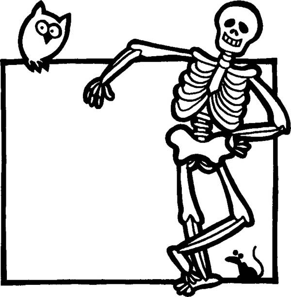Skeleton, : Skeleton Hang Out with an Owl Coloring Page
