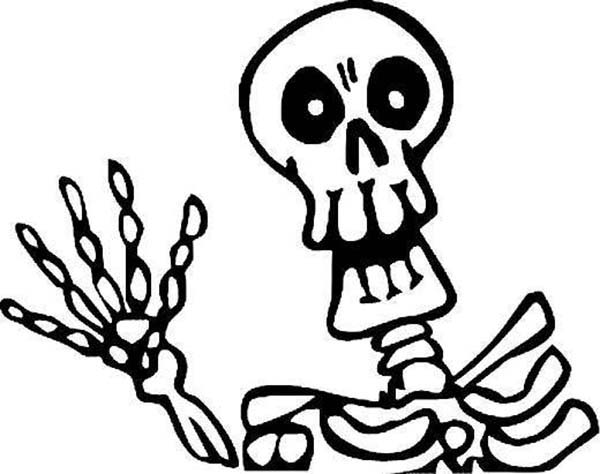 Skeleton, : Skeleton Waving Hand Coloring Page