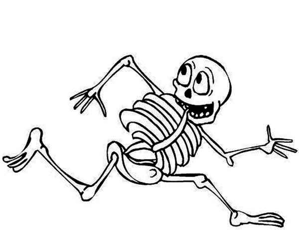 Skeleton, : Skeleton is Running Coloring Page