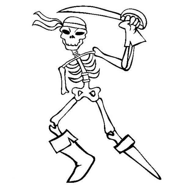 Skeleton, : Skeleton of a Great Pirate Coloring Page