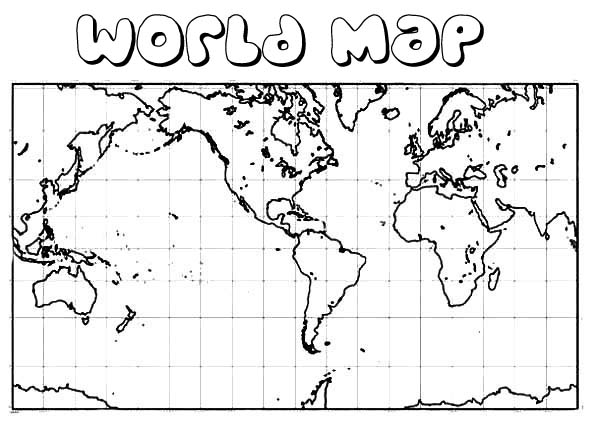 World Map, : Square World Map Coloring Page