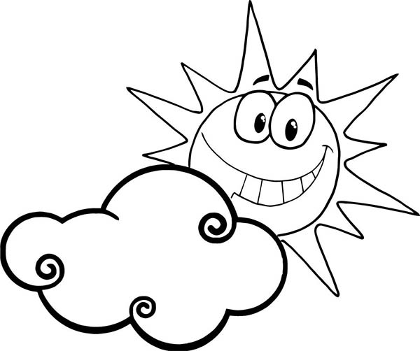 Clouds, : Sun is Smiling Behind Clouds Coloring Page