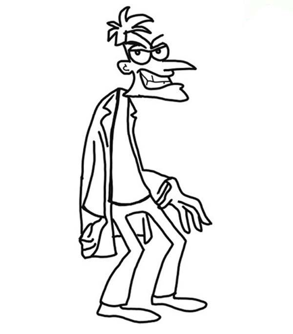 Phineas and Ferb, : The Evil Dr Doofenshmirtz from Phineas and Ferb Coloring Page