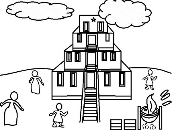 Tower of Babel, : The Famous Tower of Babel Coloring Page