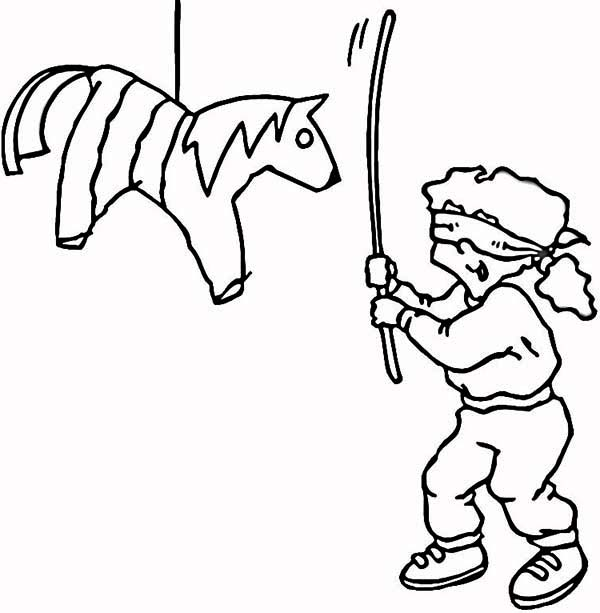 Pinata, : The Joyful of Hitting Pinata Coloring Page