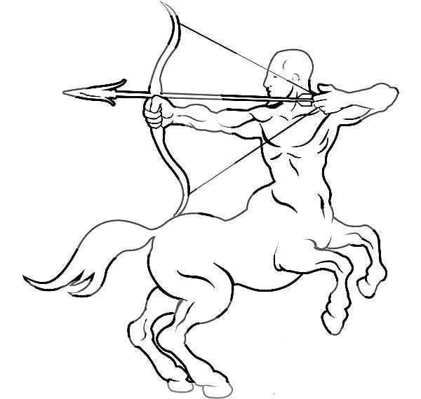 Centaur, : The Sagittarius Centaur Zodiac Coloring Page