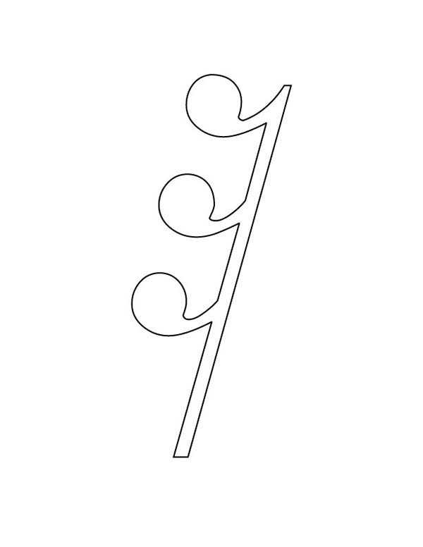 Music Notes, : Thirty Secod Rest on Music Notes Coloring Page