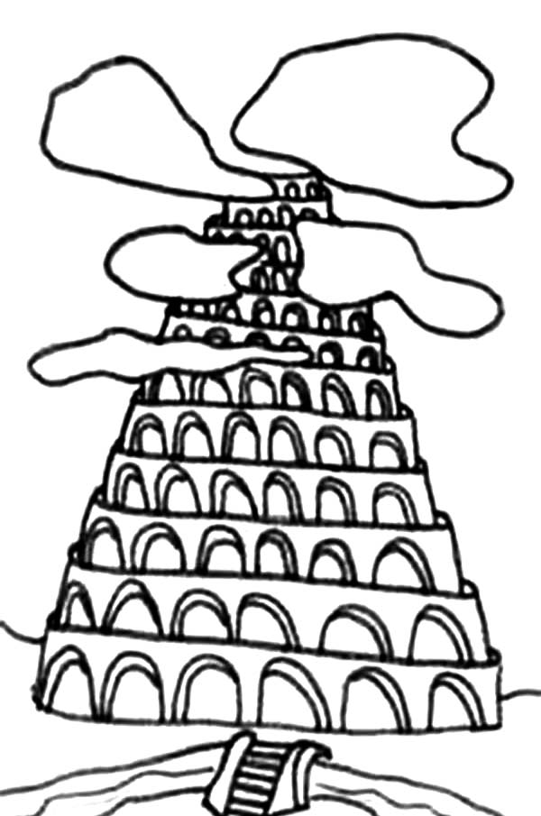 Tower of Babel, : Tower of Babel Drawing Coloring Page