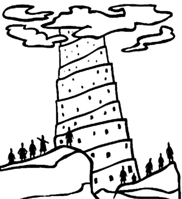 Tower of Babel, : Tower of Babel The Building which Reach the Heaven Coloring Page