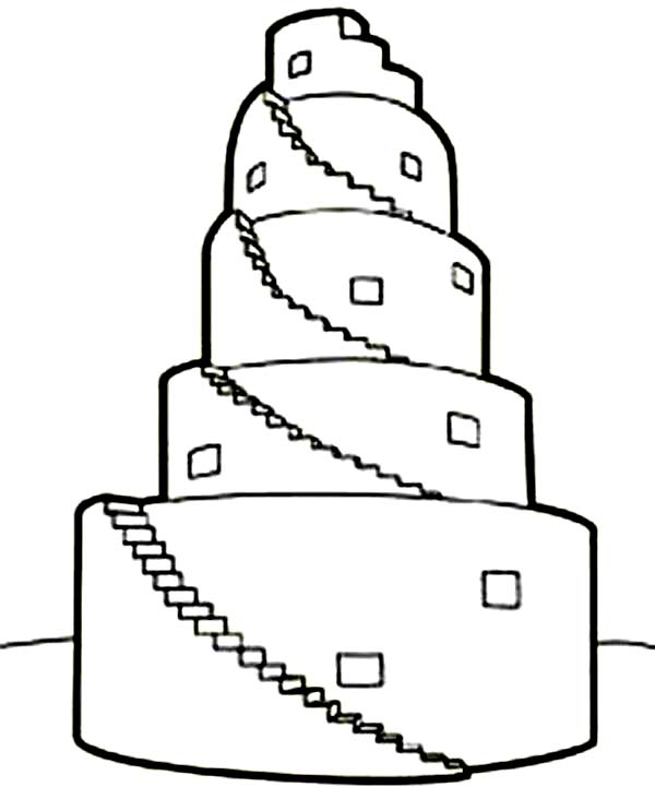 Tower of Babel, : Tower of Babel in Book of Genesis Coloring Page