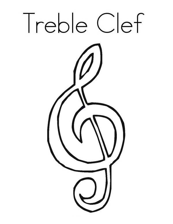 Music Notes, : Treble Clef Music Notes Coloring Page