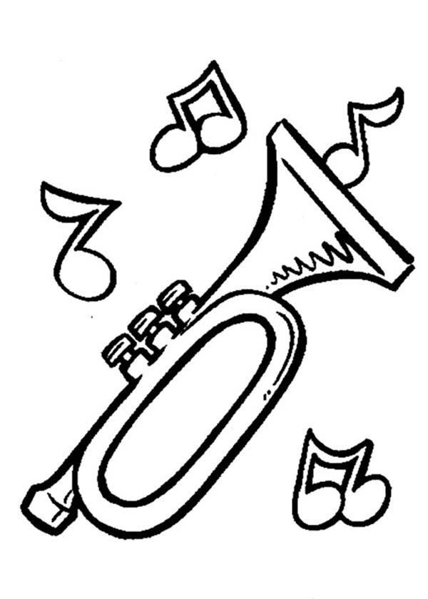 Music Notes, : Trumpet Notes in Music Notes Coloring Page