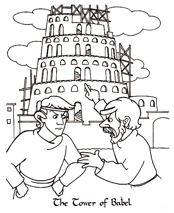 Tower of Babel, : Two Man Argue in Front of Tower of Babel Coloring Page
