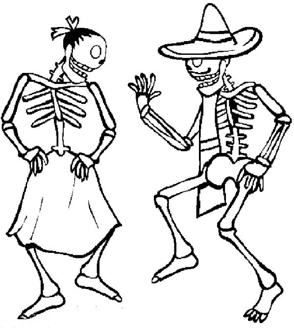 Mexican Fiesta, : Two Skull Doing Zapateado Mexican Dance at Mexican Fiesta Coloring Page