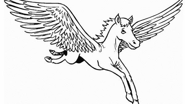 Pegasus, : Wide Wing Pegasus Coloring Page