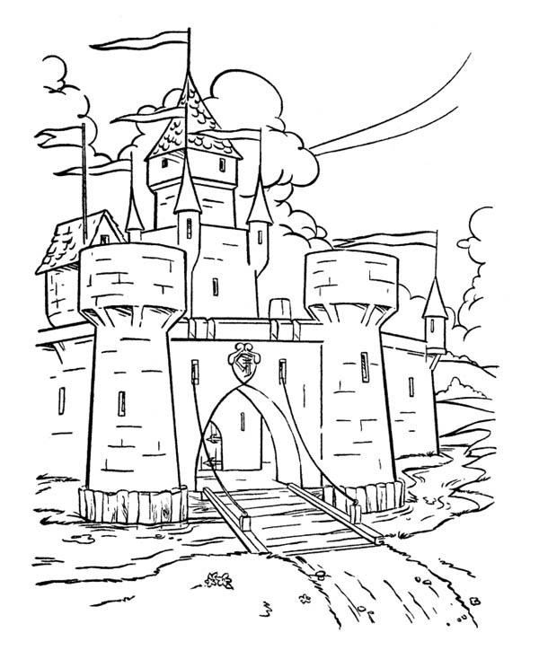 Wonderful Drawing Medieval Castle Coloring Page Kids