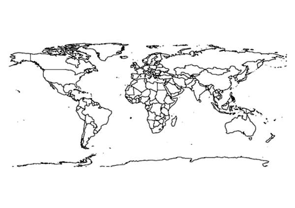 World Map, : World Map Outline Coloring Page