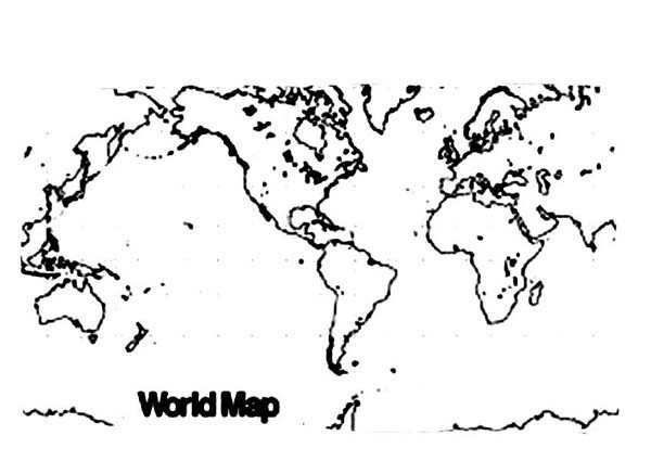 World Map, : World Map Picture Coloring Page