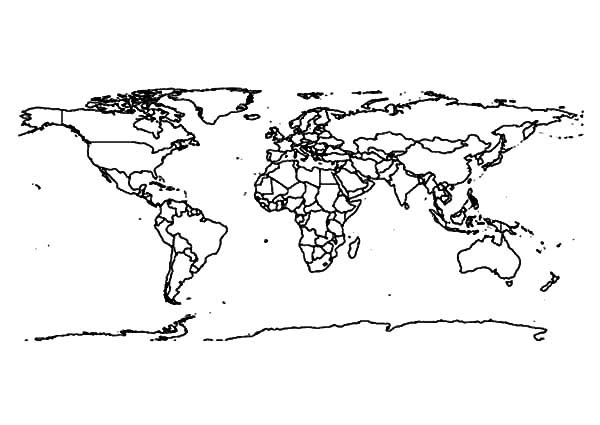 World Map, : World Map for Student Coloring Page