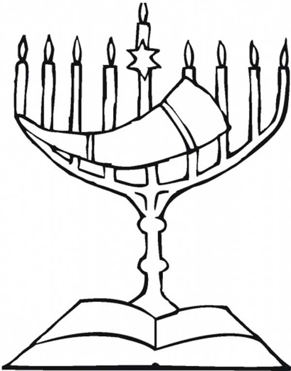 Menorah, : Yom Kippur Menorah Coloring Page