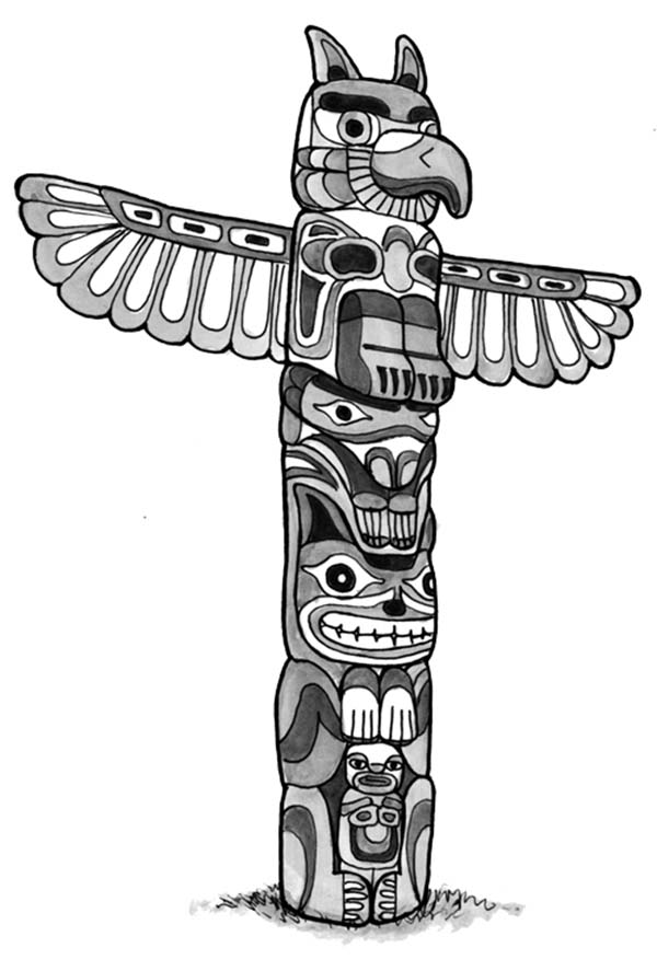 Animal Figure Totem Poles Coloring Page Kids Play Color